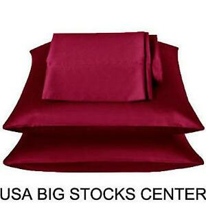 2 Standard / Queen size SATIN Pillow Cases / Covers BURGUNDY Color - Brand New