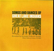 SONGS & DANCES OF GREAT LAKE INDIANS Vinyl LP Gertrude Prokosch FOLKWAYS FE 4003