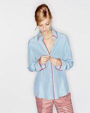 $465 Olatz 100% Silk Original Silk Button Down Blue Shirt w/ Red Piping Size S