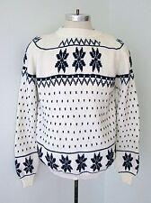 Vtg 70s 80s Blue White Snowflake Birdseye Acrylic Crew Neck Ski Sweater M