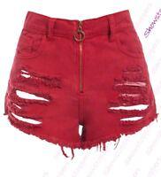 Womens Distressed High Waist Denim Shorts Ladies Rip Short Size 6 8 10 12 14