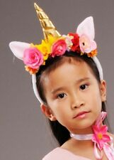 Childrens Pink Unicorn Horn Headpiece with Flowers