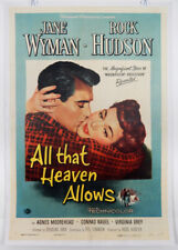 ALL THAT HEAVEN ALLOWS - 1 SHEET LINEN POSTER - 1955 - ROCK HUDSON - JANE WYMAN