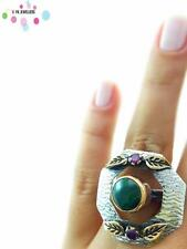 Turkish Handmade 925 Sterling Silver Jewelry Quartz Adjustable Ring NEW R1686