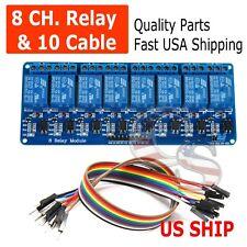 8 Channel 5V Relay Shield Module Board & Cables Arduino Raspberry Pi ARM AVR