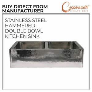 STAINLESS STEEL FRONT APRON HAMMERED DOUBLE BOWL KITCHEN SINK