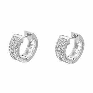 Sterling Silver CZ 3 Row Hoop Earrings