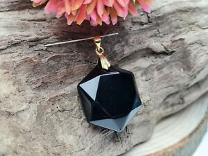 Edelsteinanhänger Obsidian schwarz facettiert Hexagon Schliff Ketten Anhänger