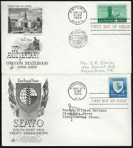 PAIR FDC'S - OREGON STATEHOOD & SEATO - ART CRAFT CACHETS!