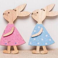 3PCS Easter Rabbit Wooden Decor DIY Wood Hanging Crafts Bunny Easter Ornaments.