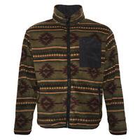 Mens Fleece Zipper Jacket Warm Aztec Geometric Print Zip Front Pocket HK80044