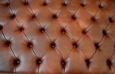 """Fix To Wall Headboard 4ft 6"""" in Chestnut Faux Leather With Deep Button Design"""