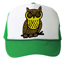 Trucker Mesh Vent Snapback Hat, Retro Owl 3D Patch Embroidery Kelly Green