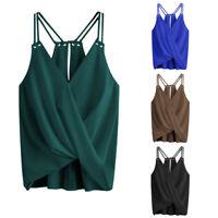 Summer Women Casual Tops Sleeveless Crop Top Vest Tank Shirt Blouse Cami Tops