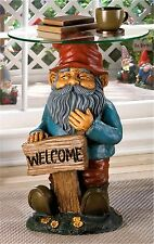 "Whimsical ** GARDEN GNOME ""WELCOME"" ACCENT END SIDE OR NIGHT STAND TABLE ** NIB"