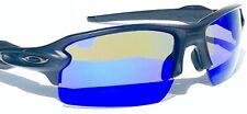 NEW* Oakley FLAK 2.0 Matte Black POLARIZED Galaxy Blue Mirror Sunglass 9188-73