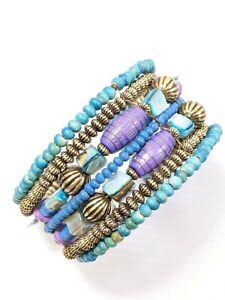 Bronze Tone Blue Purple Wood Shell Bead Open Cuff Tribal Style Bracelet