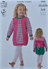 KNITTING PATTERN Childrens Round Neck Long Sleeve Striped Dress DK KingCole 3908