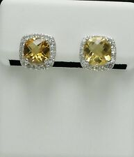 Citrine  & White Topaz Earring in Sterling Silver 8mm 4.58cts