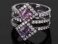 1.43ctw Lab Created Color Change Alexandrite, 1.25ctw White Zircon  size 6