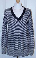 TOMMY HILFIGER Size Small Blue & White Stripe V-Neck LOng Sleeve 100% Cotton