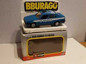 """° BURAGO #0188 - Alfa Romeo 75 """"POLIZIA"""" (azzurro chiaro) - scala 1/24"""