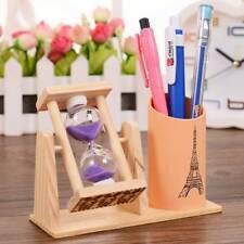 Wooden Sandglass Desktop Organizer Office Decor Pen Pencil Holder Storage Box#