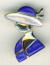 "925 Sterling Silver Brooch Blue Mother of Pearl Elegant Lady in Hat / Bonnet 1"""