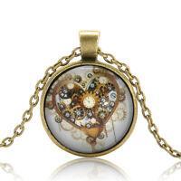 Vintage Retro Steampunk Heart Photo Cabochon Glass Bronze Chain Pendant Necklace