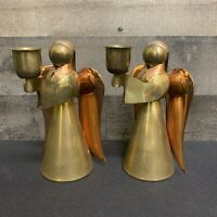 "Vintage 6"" Copper and Brass Angel Candle Holders Figurines Metal Angel Taper"