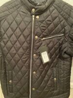 Mens Padded Diamond Quilted Slim fitted jacket Navy blue