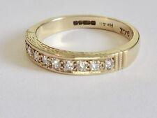 9ct solid Yellow Gold Half Eternity Genuine Diamond Band Ring .25 1/4 ct- £140!!