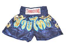 MUAY THAI SHORTS PANTS KIDS KICK THAI BOXING MMA FIGHTER  SIZE:S NAVY & GOLD