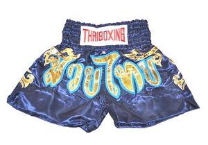MUAY THAI SHORTS PANTS KIDS KICK THAI BOXING MMA FIGHTER  SIZE:SS NAVY & GOLD