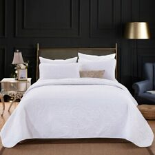 White Embossed Bedspread Coverlet Set 2 Pillowcases Queen King Size Throw Rug