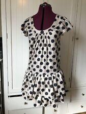 TOPSHOP Vintage Spotty Dropped Waist Dress Frill 8 Layered Skirt Black Ivory
