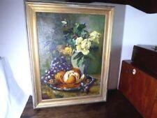 original Ölgemälde Stillleben gelb Rose Weintrauben Apfelsine B. Teitge 52x39cm