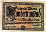 1923 Germany MOERS 100.000  Mark Banknote