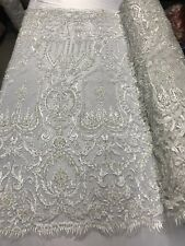 """Beaded Fabric Ivory Embroidery Beads Fabric Lace Wedding Dress 50""""By The Yard"""