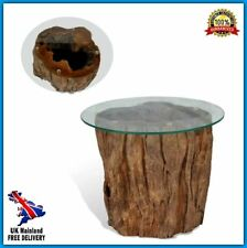 Unusual Coffee Table Side Retro Tree Trunk Wood Glass Top Unique Room Furniture