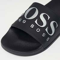 HUGO BOSS MEN'S SOLAR SLID LOGO SLIDER FLIP FLOP IN DARK BLUE / ALL SIZES /