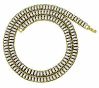 """Mens 1 Row Icy Baguette Cz Link 14k Gold Plated 30"""" Chain Hip Hop Necklace"""