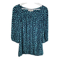Ann Taylor Loft Womens Top Crew Neck 3/4 Puff Sleeves Work Blouse Ladies Size XS
