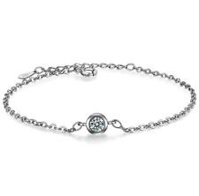 925 Sterling Silver Diamond Chain Engagement Bracelet Women Valentine's Jewelry
