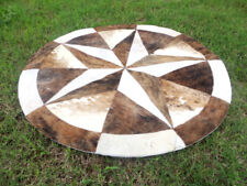 """Star Cowhide Rug Cow Hide Skin Carpet Leather Round patchwork S89 area 40"""""""