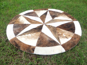 Star Cowhide Rug Cow Hide Skin Carpet Leather Round patchwork S89 area 40""