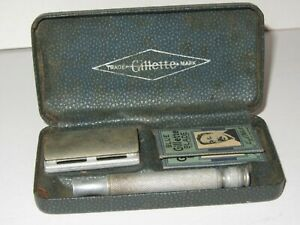 BOXED Vintage GILLETTE Safety Razor With 2 Wrapped Original Blades Aluminium