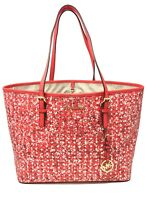 Michael Kors Jet Set Travel Leather Large Carryall Tote Bag Dark Sangria Floral
