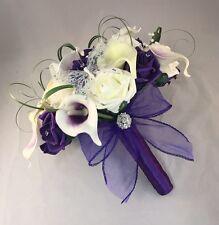 ARTIFICIAL IVORY PURPLE CALLA LILY ROSE WEDDING BRIDE BROOCH BOUQUET FLOWERS