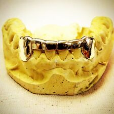 Custom Grillz 2 TEETH Front And Back Bar for Top OR Bottom In 10KT Solid Gold